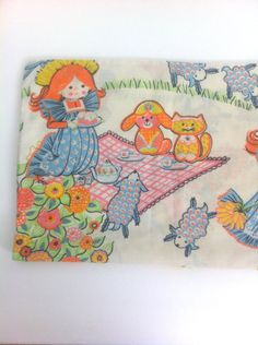 Vintage Pillowcase Red Haired Girl in Field Tea Party Flower Tree Reading Book on Etsy #vintage #pillowcase #girlsroom