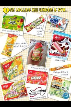 Syns for slimming world ice cream and ice pop astuce recette minceur girl world world recipes world snacks Slimming World Syns List, Slimming World Sweets, Slimming World Puddings, Slimming World Syn Values, Slimming World Free, Slimming World Recipes Syn Free, Slimming Eats, Low Syn Treats, Syn Free Food