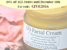 Use the coupon code GIVE2016 at checkout to get 20% off of entire cart until December 18th, 2016 at LenaJeanne Cosmetics LLC