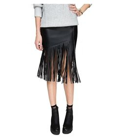 Ru Sweet Women Polyurethane Cut Out Plain Mid Waist Black Mini Asymmetric Hem Skirt *** Check out this great product.