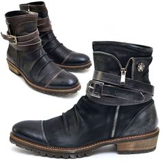 Vintage Belted Wrinkle Biker Boots-Shoes 382 - GUYLOOK #MensBoots