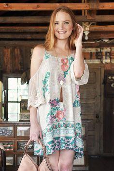 Gabriella Lace Cold Shoulder Dress