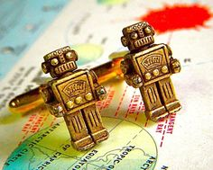 Robot Cufflinks Rustic Bronze - These Are The Original Design From Cosmic Firefly Featured In REAL S