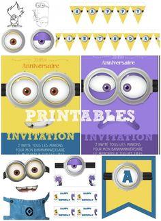 Kit anniversaire minions gratuit à télécharger, imprimer et découper sans trop dépenser :) Des invitations, une banderole murale, des déco pour cupcakes...