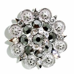 "Western Cowgirl Rhinestone Hematite Berry Concho 4 Leather Single Screw 1.5"" BeltsBootsBling.com - $6.95"