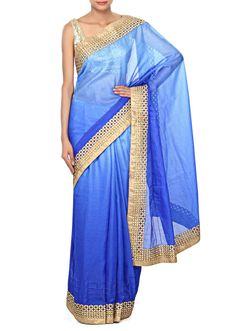 $79 Bridesmaids Blue shaded saree enhanced in zari cut work border only on Kalki