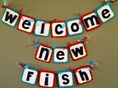 Baby Shower Banner, Dr. Seuss Baby Shower, Welcome New Fish, One Fish Two Fish Red Fish Blue Fish  www.facebook.com/SweetEventsByAlicia