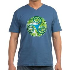 Celtic Triskele Green Leaf Mens V-Neck T-Shirt on CafePress.com