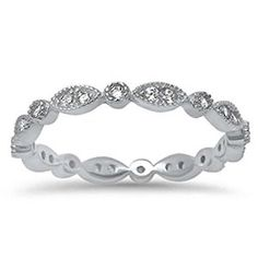 Marquis & Round Cubic Zirconia Eternity Band .925 Sterling Silver Ring Size 4-10 Available at joyfulcrown.com