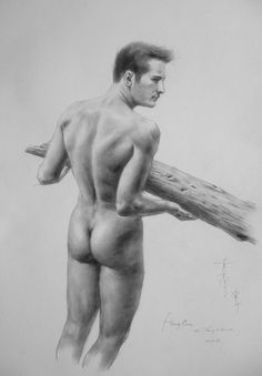 ORIGINAL ARTWORK DRAWING GAY MAN CHARCOAL PENCIL ART MALE NUDE ON PAPER SIGNED BY HONGTAO-33
