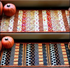 I need to do this for the coffee bar runner.*** The Reversible Holiday Table Runner for Halloween and Thanksgiving is a beautiful table runner tutorial that can be used October through November. Learn how to make a table runner. Table Runner Tutorial, Table Runner Pattern, Table Runner And Placemats, Quilted Table Runners, Fall Table Runner, Thanksgiving Table Runner, Halloween Table Runners, Halloween Runner, Halloween Quilts
