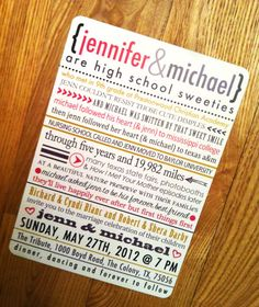 Our Love Story // Wedding Invitation  I love this