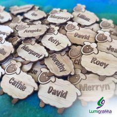 Personalised Timber Sheep Name Badge by Lumigrafika on Etsy Sheep Names, Name Badges, Creative Studio, Spinning, Music Posters, Knitting, Crafts, Group, Etsy