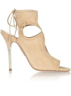 Aquazarra Cutout Suede Sandals via StyleList | http://aol.it/1sorijo