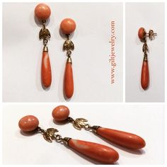 Make a statement in 2015 with these fabulous 1890's coral and diamond torpedo drops set in 14k gold. $1495 #giltjewelry #coral #statement #Victorian #antique #perfect (at Gilt Vintage & Artisan Jewelry)