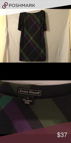 "Jessica Howard casual shift dress Very cute! Very ""prim""! Jessica Howard shift dress. Size L. Measurements: shoulders 16 1/2"", pits 21"", length 36"" navy blue, purple, green Jessica Howard Dresses Midi"
