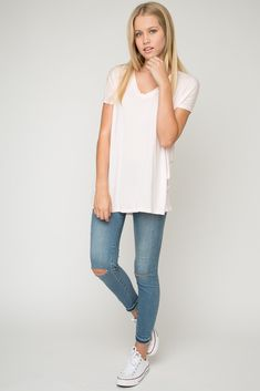 | Simple | Cute | Outfit | White Tee | Ripped Jeans |