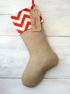 Burlap Christmas Stocking - Red/Ivory Chevron Cuff on Etsy, $30.00