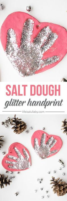 These Salt Dough Handprint Ornaments are so easy to make and would be an easy kids craft!