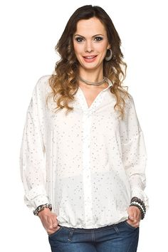 Bílá těhotenská halenka s dlouhým rukávem Blouse, Long Sleeve, Sleeves, Mens Tops, T Shirt, Women, Fashion, Supreme T Shirt, Moda