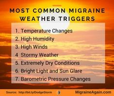 Natural Headache Remedies - Nasty Weather Doesn't Have to Mean a Nasty Migraine. For many of us, an approaching storm signals the start of a series of weather related migraines. Migraine Triggers, Migraine Diet, Migraine Pain, Chronic Migraines, Migraine Relief, Chronic Pain, Chronic Illness, Menstrual Migraines, Botox Migraine