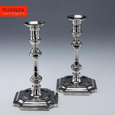 ANTIQUE 20thC QUEEN ANNE STYLE SOLID SILVER CANDLESTICKS, SHEFFIELD c.1919