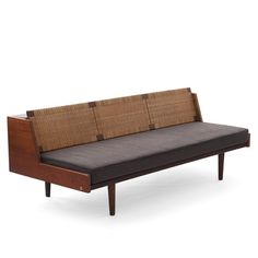 Vintage Daybed in teak with rattan woven backboard Hans Wegner