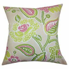 "Bring a pop of pattern to your favorite arm chair with this charming cotton and feather-down pillow, showcasing a paisley-inspired floral motif.   Product: PillowConstruction Material: Cotton cover and 95/5 down fillColor: Green and pinkFeatures:  Insert includedHidden zipper closureMade in the USA Dimensions: 18"" x 18"" Cleaning and Care: Spot clean"