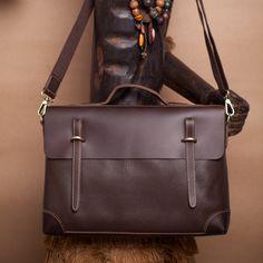 "Handmade Genuine Leather Briefcase / Messenger / 14"" Laptop Bag"