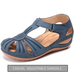 Shop & Buy Women Sandals 2020 New Summer Shoes Woman Soft Bottom Wedges Shoes For Women Platform Sandals Heels Gladiator Sandalias Mujer Online from Aalamey Strappy Flats, Wedge Sandals, Summer Sandals, Strap Sandals, Shoes Sandals, Womens Summer Shoes, Studded Heels, Casual, Wedges