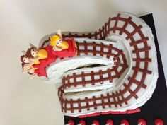 Coney Island Cyclone roller coaster cake (side view)