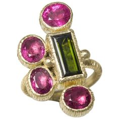 Rubelite Green Tourmaline 18 Karat Green Gold Cocktail Ring | From a unique collection of vintage cocktail rings at https://www.1stdibs.com/jewelry/rings/cocktail-rings/ #GoldJewelleryGreenTourmaline
