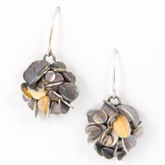 Desert rose earrings - oxidized silver and gold leaf. Back is gold leaf, wires are sterling silver. 24k Gold Jewelry, Rose Jewelry, Unique Jewelry, Oxidized Silver, Sterling Silver, Design Logo, Desert Rose, Rose Earrings, Gold Leaf