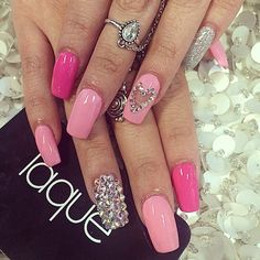 Laque Nail Bar Dope Barbie Nails Light Pink Hot Pink Silver Heart Diamond Glitter Gem Crystal Ring Chain Jewellery Hot