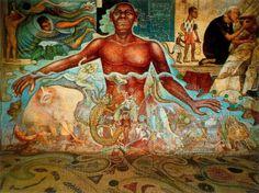 figura nera simboleggia  acqua, fonte di vita. 1951.  ciclo di raffreddamento su polistirolo e gomma.  Piano e 4 pitture murali. Totale 224 m2.  Carcamo Lerma River. Chapultepec-Park. Città del Messico.: Diego Rivera