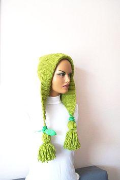 Green Knit Hat Womens Hat Knit Hood Earflap - Tassel Hat - Chunky Hood, Hooded Cowl, Cream Hood, Winter Accessories, Gift for he