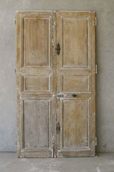Pair 18th Century Oak Doors from a Village House near Tours France via Chateau Domingue & Pair Antique French Chateau Doors with Original Paint | For the ... Pezcame.Com