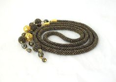 Long beads rope necklace lariat brown with glass and beaded beads -beaded necklace -beadwork- christmas gift