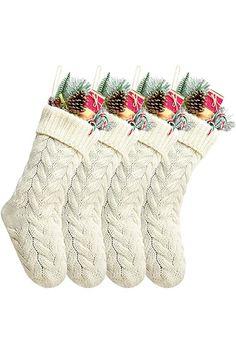 White Christmas Stockings, Amazon Christmas, Knit Stockings, Woodland Christmas, Natural Christmas, Kitchen Store, Christmas Decorations, Holiday Decor, Online Shopping