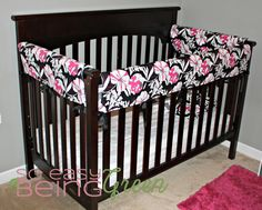 Handmade Crib Bedding - includes Reversible Crib Rail Covers and Toddler Pillowcase.