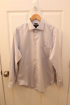Men's Pronto Uomo Button Down Dress Shirt Long Sleeve Size L Non Iron Cotton  #ProntoUomo #ButtonFront