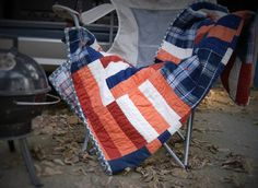 "Football Tailgating Blanket With Orange and Blue Patchwork Design - The ""Tailgate"" Throw Quilt // FREE SHIPPING by QuirkyQuiltress on Etsy https://www.etsy.com/listing/246246913/football-tailgating-blanket-with-orange"