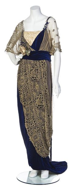 Opulent...; A 1910 Maison C. Worth, Cobalt Blue Silk w/ peach Velvet neck insert, Gold Lace overlay, velvet cummerbund & silk flower embellishment Gown,