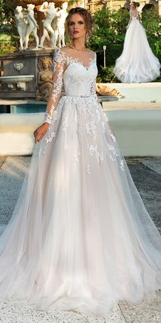 NEW! Chic Tulle Bateau Neckline A-Line Wedding Dress With Lace Appliques & Beadings & Belt