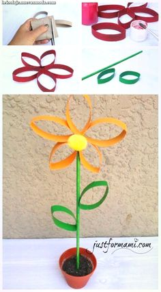 Flowers made with recycled toilet paper tubes, can be used as decoration . Crafts For Seniors, Fun Crafts For Kids, Preschool Crafts, Diy For Kids, Crafts To Make, Easy Crafts, Toilet Paper Flowers, Toilet Paper Roll Art, Toilet Paper Roll Crafts