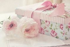 Beautiful covered gift box and roses