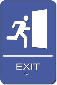 ADA Exit Sign with Running Person Pictogram, Tactile Letters and ...