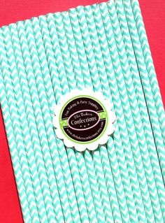 Chevron Stripe Paper Straws in Aqua  by thebakersconfections, $5.00