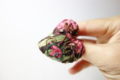 Pink, Green and Brown Heart Brooch. Seed Bead Embroidery on Felt Fabric Heart. Mother's Day Gift. Teacher's Gift.