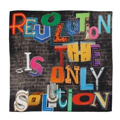 Revolution is the only solution  // silk/cotton scarf // Art Collection Katja Filipovich for hüftgold berlin // Spring 2015